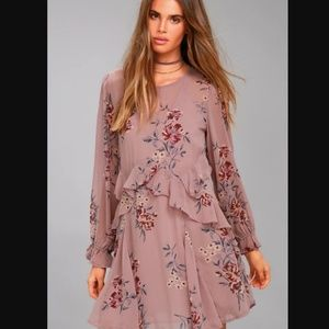 ASTR The Label Heather Mauve Long Sleeve Dress